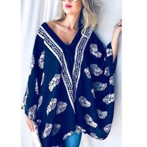 Sweaters - Boho Printed Poncho Kimono Top.